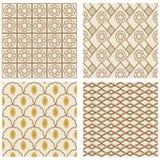 Um grupo de quadros do quadrado do art deco do vintage em cores nostálgicas com testes padrões geométricos simples Imagem de Stock