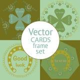 Um grupo de quatro cartões retros do dia de St Patrick Imagens de Stock Royalty Free