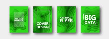 Um grupo de quatro opções para bandeiras, insetos, folhetos, cartões, cartazes para seu projeto, em cores verdes ilustração royalty free