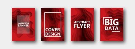 Um grupo de quatro opções para bandeiras, insetos, folhetos, cartões, cartazes para seu projeto, em cores vermelhas ilustração royalty free