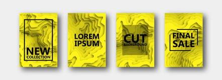 Um grupo de quatro opções para bandeiras, insetos, folhetos, cartões, cartazes para seu projeto, na cor amarela ilustração royalty free