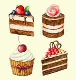 Um grupo de queques doces Ilustração do Vetor