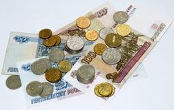 Um grupo de rublos de russo Fotografia de Stock