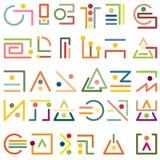 Um grupo de símbolos abstratos modernos dos elementos gráficos simples Foto de Stock