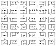 Um grupo de símbolos do smiley em um estilo tecnologico moderno Fotografia de Stock