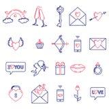 Um grupo de símbolos simples para o dia de Valentim ilustração do vetor