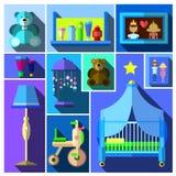 Um grupo de sala da mobília e de crianças Imagem de Stock Royalty Free