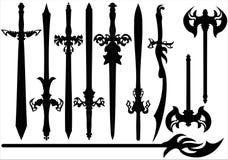 Um grupo de silhuetas das espadas Imagem de Stock