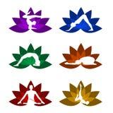 Um grupo de símbolos da ioga e da meditação Foto de Stock Royalty Free