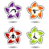 Um grupo de símbolos da ioga e da meditação Fotos de Stock