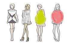Um grupo de tipos de corpo fêmea formulário ilustração do vetor