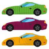 Um grupo de três carros pintados na cor diferente ilustração do vetor