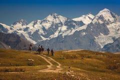 Um grupo de turistas no Cáucaso em Geórgia Um moun bonito foto de stock royalty free