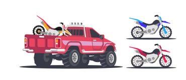 Um grupo de veículos para competir, ilustração stock