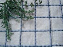 Um grupo de verdes frescos em uma toalha de cozinha Ramalhete de ervas picantes, composto dos alecrins, oréganos, alfazema Foto de Stock Royalty Free