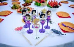 Um grupo de vidros decorativos do casamento Foto de Stock