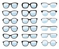 Um grupo de vidros isolados Ícones modelo dos vidros do vetor Óculos de sol, vidros, isolados no fundo branco Várias formas - est Imagem de Stock Royalty Free