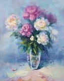 Um grupo do peony cor-de-rosa e branco Ilustração Royalty Free