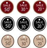 Um grupo do preço nove com a porcentagem da venda Fotografia de Stock Royalty Free