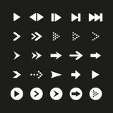 Um grupo do sinal e do símbolo brancos da seta no fundo preto Ilustração do vetor Foto de Stock Royalty Free