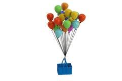 Um grupo dos balões coloridos que penduram a cesta, ilustração 3D Foto de Stock