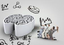 Um grupo que estica o cérebro com fundo gráfico ilustração stock