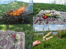 Um grupo temático de quatro fotos de um piquenique na natureza Imagem de Stock Royalty Free