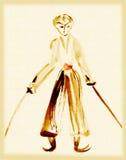 Um guerreiro com duas espadas ilustração do vetor