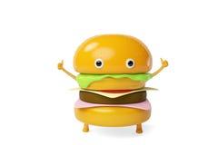 Um Hamburger dos desenhos animados, ilustração 3D Fotos de Stock Royalty Free