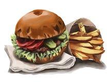 Um hamburguer belga e fritadas do estilo ilustração do vetor