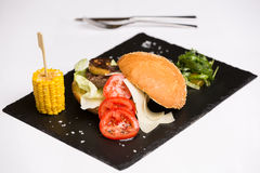 Um hamburguer da reunião serviu com queijo e vegetais Fotos de Stock Royalty Free