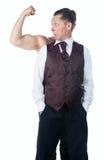 Um homem com bíceps imagens de stock