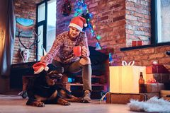 Um homem com um cão Imagens de Stock