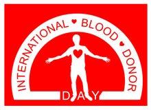 Um homem com coração vermelho Dia do doador de sangue do mundo logo ilustração stock