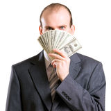 Um homem com dinheiro Foto de Stock Royalty Free