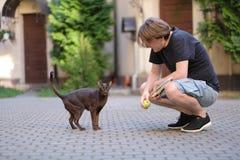Um homem com um gato oriental para uma caminhada Fotografia de Stock Royalty Free