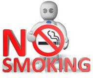 Um homem com um aviso não fumadores Imagens de Stock