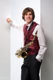Um homem com um saxofone Foto de Stock