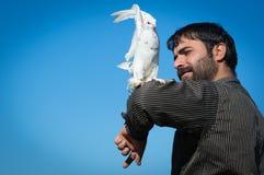 Um homem com uma pomba Fotos de Stock Royalty Free