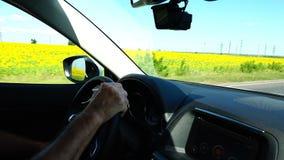 Um homem conduz um carro na alta velocidade ao longo da estrada perto de um campo com flores amarelas filme