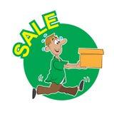 Um homem corre afastado com a compra Foto de Stock Royalty Free