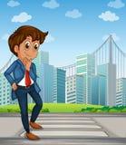 Um homem de negócios bonito na pista pedestre através do tal ilustração stock