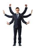 Um homem de negócios com os seis braços que fazem os punhos, parando e dando boas-vindas a movimentos fotos de stock