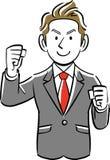 Um homem de negócios faz uma pose da entranhas ilustração stock
