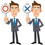 Um homem de negócios mostra respostas ilustração do vetor