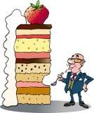 Um homem de negócios que toma uma mordida do bolo grande Imagens de Stock