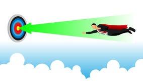 Um homem de negócios voa em linha reta para o poin do foco ilustração stock