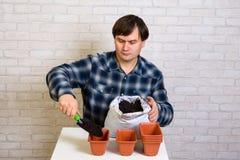 Um homem derrama o solo em um recipiente para plântulas imagem de stock royalty free