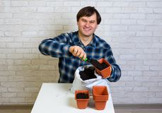 Um homem derrama o solo em um recipiente para plântulas fotos de stock royalty free