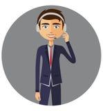 Um homem do operador com serviço do serviço de informações do serviço ao cliente dos auriculares ilustração royalty free